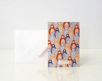 "1 ""Matriochkas"" greeting card - 1 carte de voeux ""Matriochkas"""