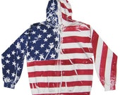 Hand Screen Men's American Flag Zip Up Hoodie