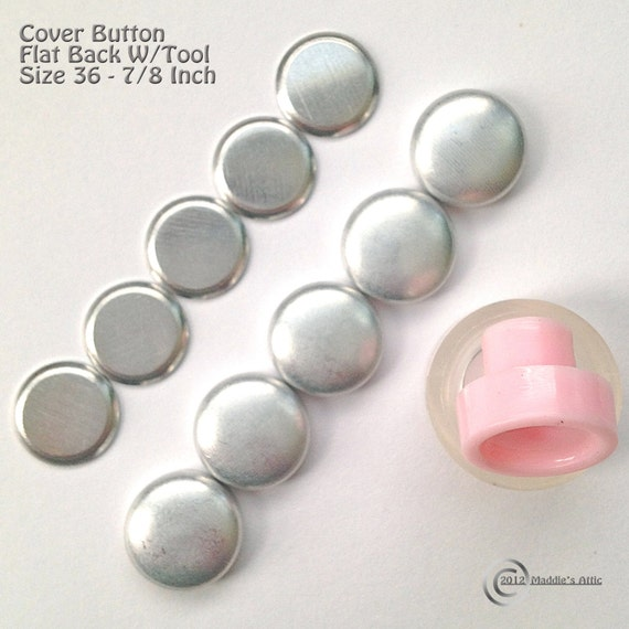 50 Flat Back Cover Buttons - Size 36 (7/8 inch) - Choose Your Options - Assembly Tool