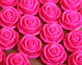 10 pc. Neon Pink Large Rose Cabochons 19mm | RES-555