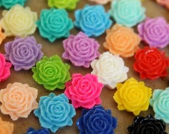 40 pc. Multi Color Flat Rose Cabochon 12mm  x 11mm | RES-320