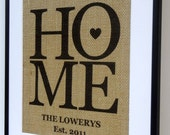 Personalized Burlap Love Housewarming Gift Print / Burlap Art By Elizabeth