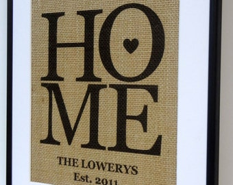 Personalized Burlap Love Housewarming Gift Print / Burlap Art By Elizabeth