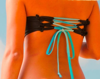 Peek-a-Boob Bandeau with corset back -Black and Turquoise