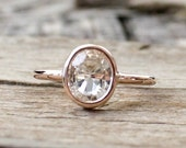 Oval Solitaire White Sapphire in 14K Rose Gold
