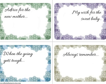 Wishing Tree - Baby Shower Advice Cards - Flowers Soft Lace - Nature - digital download printable - Instant Download