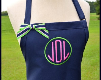 Circle Monogrammed Personalized Apron - Round Preppy Chefs Gift Idea Ribbon Bakers Womens Wedding Bridal Shower Custom Customized Adult