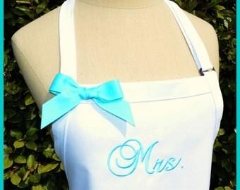 Custom Mrs. Wedding Apron - Protect Bride's Dress, Wedding Colors Reception Cake Cutting Shower Gift Custom Bow White Aqua Blue