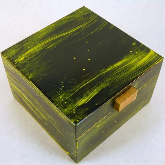 Keepsake Jewelry Treasure  Box in Green and Yellow Paint OOAK