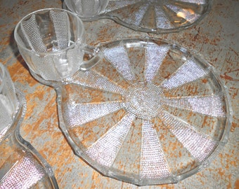 Vintage Snack Set, Clear Glass, Plates, Cups, Serving Set, Textured Glass, Snack Plates, 6 Pc Set