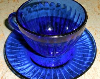Vintage Tea Cup, Blue, Glass, Colorex, Tea Cups, Blue Glass, Tea Set, Punch Cups, Tea Cup & Saucer, Made in Brazil, Teacup, Cobalt Blue