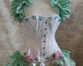 Beautiful  Silk  Bustle Skirt  and shrug SET Mint Ice Lolita Victorian   By Ophelias Folly