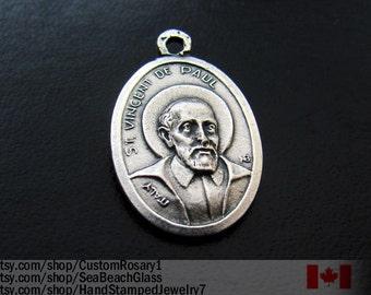 St Vincent de Paul Charm Pendant Necklace. MADE in ITALY Saint Vincent. Catholic, Patron Saint. Catholic Jewelry, Godparents Gift. Vintage