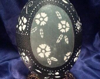 Carved Emu Egg - Flowers