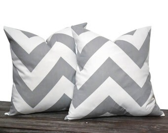 "20"" Grey Chevron Zig Zag Pillow Set - Set of 20 x 20 Inch Large Zig Zag Pillow Covers - Grey and White - TWO PILLOW COVERS"