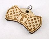 Polka dot bow tie dog tag - monogram initials pet id tag wood laser cut cat tag