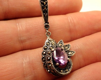 925 Sterling Silver earrings with marcasite and Amethyst  stones hand made Armenia Armenian