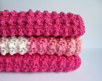 Cotton Crochet Dishcloth 3 Piece Set - Pink Bubblegum Collection