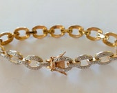 Vintage Two Tone Silver and Gold Vermeil Sterling Silver Bracelet Bridal Wedding