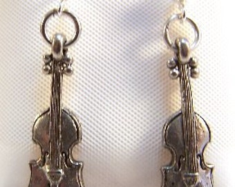 Children's Pewter Violin Charms on Sterling Silver 3mm Ball Post Stud Earrings  - 1887