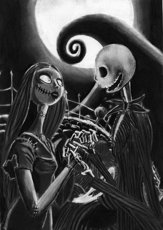 Nightmare Before Christmas Print Jack and Sally Halloween