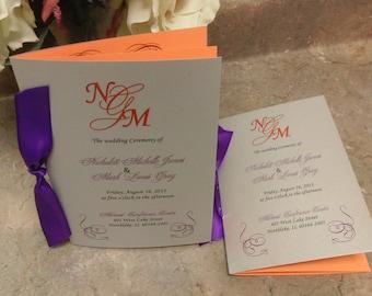 Wedding ceremony programs in purple, silver and orange