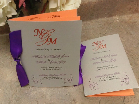 Wedding ceremony programs in purple, silver and orange