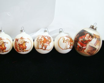 Vintage Norman Rockwell Christmas Ornaments - 4 smaller and 1 larger - FREE SHIPPING to any USA address