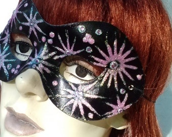 MASK Mardi Gra Venetian Masquerade CARNEVALE Midsummer Theatre Halloween Gothic Fairy Cosplay Costume OOAK Faery Party Whimsical Black