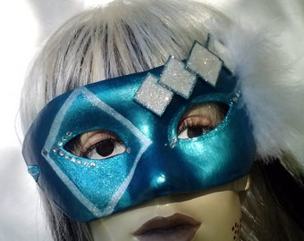 Mask Mardi Gra VENETIAN Carnevale Masquerade Carnival Halloween Whimsical Venice Fairy MIDSUMMER Faery Cosplay Theatre Wiccan OOAK Blue