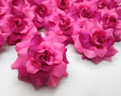 24 Two-tone Dark Pink mini Roses Heads - Artificial Silk Flower - 1.75 inches - Wholesale Lot - for Wedding Work, Make clips, headbands