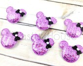 "6 pcs Sequin Minnie Mouse with Bows Padded - Lavender Color - Size 1.5"" - Halloween/Fall - DIY Hair Accessories Supplies"