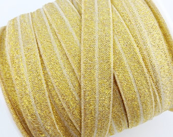 "5/8"" SPARKLE /Shimmery Fold Over Elastic - Gold Color - Gold Fold Over Elastic - Glitter Gold Elastic -Hair Accessories Supplies"