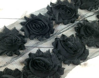 "2.5""  Shabby Rose Trim- Black Color-  Black Shabby Rose Trim - Black Chiffon Trim - Black Flowers Trim -Hair Accessories Supplies"