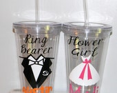 Ring Bearer Gift Tumbler Personalized  Wedding -   Flower Girl Ring Bearer- Any Color Any Design Custom