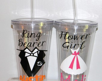 Flower Girl Gift - Ring Bearer set - Petal Princess - Ring Security Gift - Usher -  Usherette - you pick colors and add name for FREE