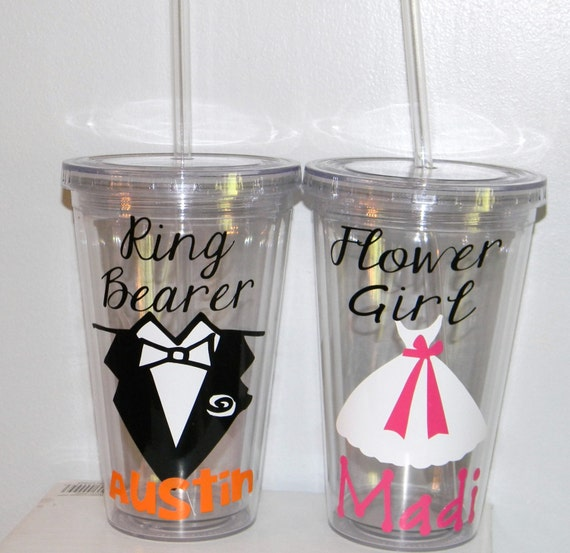 ring bearer gift tumbler personalized wedding flower
