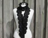 Queen Annes Lace Scarf Black Metallic Yarn