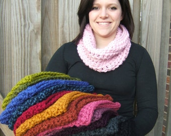 Chunky Crochet Cowl Scarf You Choose Your Color