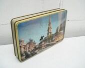 Vintage london tin box,biscuit container, Trafalgar square view