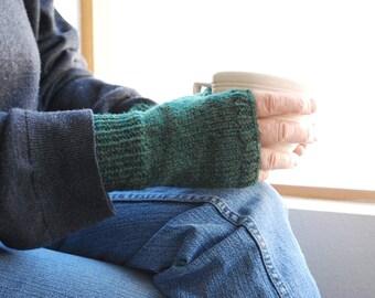 Hunter Green Fingerless Gloves Man or Woman