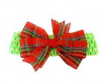 Baby Bow Headband, Baby Head Band, Red Hair Bow, Baby Christmas Headband, Baby Bow, Girl Headband
