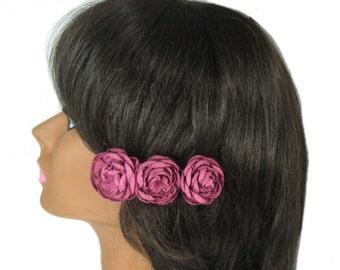Flower Hair Barrette, Bridal Flower Hair Clip, Bride Hair Accessory, French Barrette, Rose Flower Hairclip, Floral Hair Piece