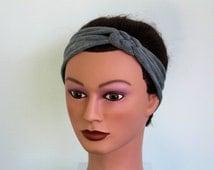 grey Knotted Jersey Headband, T-Shirt Headband, Sailor's Knot Headband, Yoga Headband, gray hairband, workout headband (KT101)