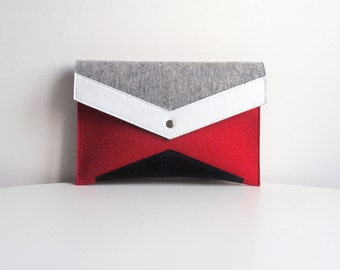 Gray Red White Black Felt Leather Clutch Bag