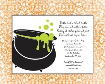 Halloween Double Toil Trouble Invitation Printable Download Print at Home