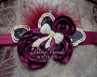 SALE 50% off Beauty Burgundy Bow and Satin Girl Valentines Headband