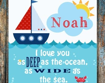 I Love You as DEEP as the Ocean, as WIDE as the sea Custom Canvas Wall Hanging