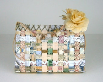 Upcycled Woven Paper Basket, Natural Neutral Hues, Leather Cord