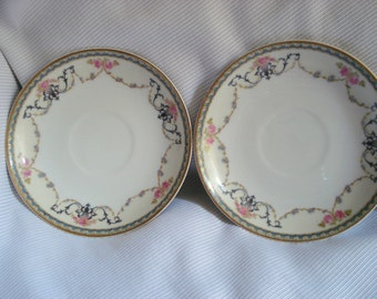 Vintage Wedding Noritake Saucers Dessert Plates Premier Pattern Pink Rose Shabby Set of 2 Vintage Bridal Shower
